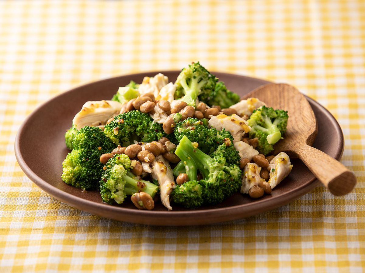 チキンとブロッコリーの納豆マスタードソース和え(サラダ)